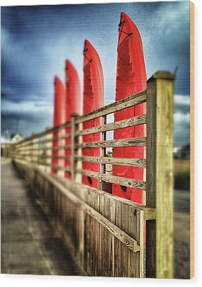 Canoes And Walkway, Surf City, North Carolina Wood Print