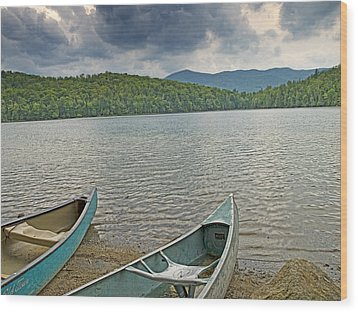 Canoes On Heart Lake Adirondack Park New York Wood Print by Brendan Reals