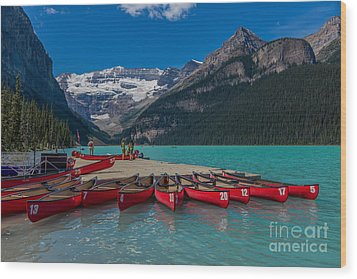 Canoes On Lake Louise Wood Print