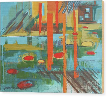 Wood Print featuring the painting Cantaloupe Island by Erin Fickert-Rowland