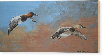 Canvasbacks Wood Print