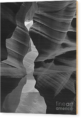 Canyon Curves In Black And White Antelope Canyon Wood Print by Nature Scapes Fine Art