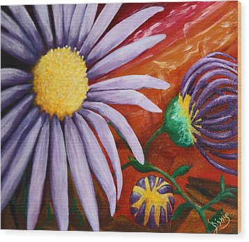 Canyon Flower Wood Print by Dixie Hester