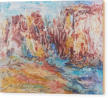 Canyon Mouth Wood Print by Becky Chappell