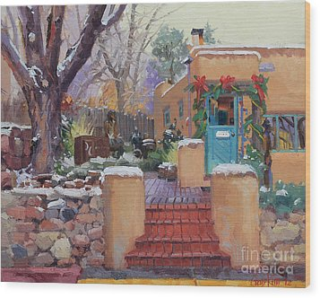 Canyon Road Christmas Wood Print by Gary Kim