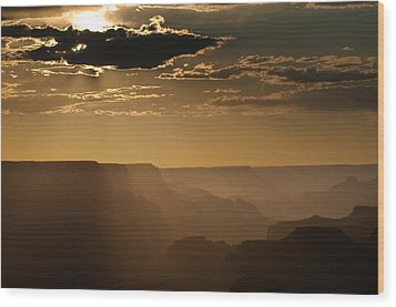 Canyon Strata Wood Print by Steve Gadomski
