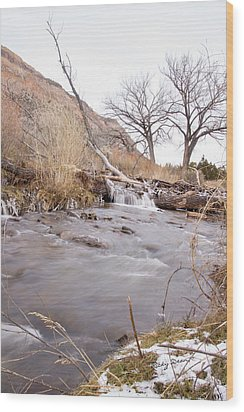Canyon Stream Falls Wood Print