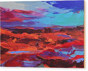 Wood Print featuring the painting Canyon At Dusk - Art By Elise Palmigiani by Elise Palmigiani