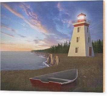 Cape Bear Light Wood Print by James Charles
