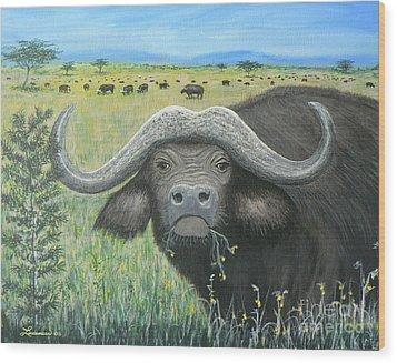 Cape Buffalo Wood Print by Don Lindemann
