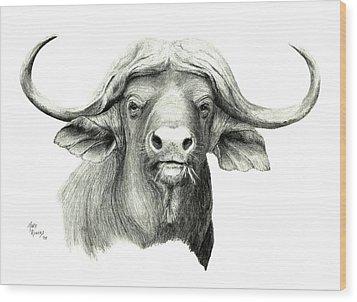 Cape Buffalo Wood Print by Mary Rogers