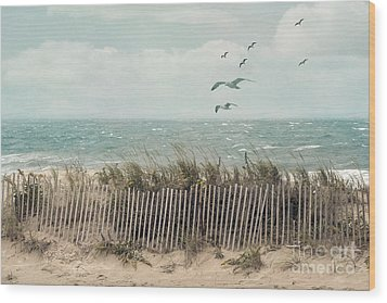 Cape Cod Beach Scene Wood Print