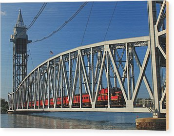 Cape Cod Canal Railroad Bridge Train Wood Print by John Burk