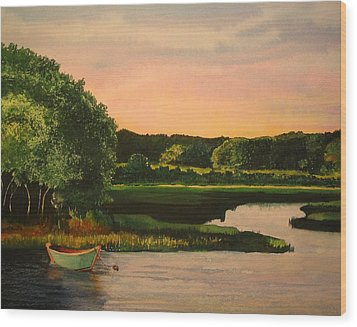 Cape Cod Dory Wood Print by Sharon Farber