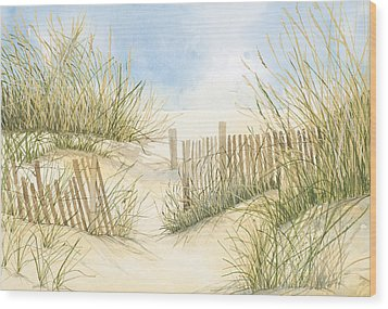 Cape Cod Dunes And Fence Wood Print by Virginia McLaren