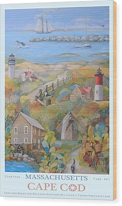 Cape Cod Wood Print by Ezartesa Art
