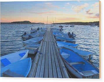 Cape Cod Harbor Boats Wood Print by John Burk