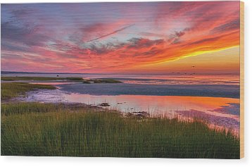 Cape Cod Skaket Beach Sunset Wood Print