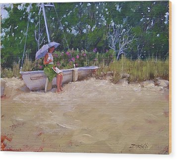 Wood Print featuring the painting Cape Cod Weekend by Laura Lee Zanghetti