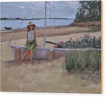 Wood Print featuring the painting Cape Cod Weekend Two by Laura Lee Zanghetti