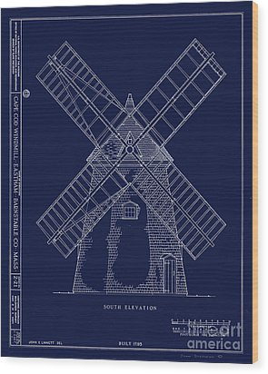 Wood Print featuring the photograph Historic Cape Cod Windmill Blueprint by John Stephens