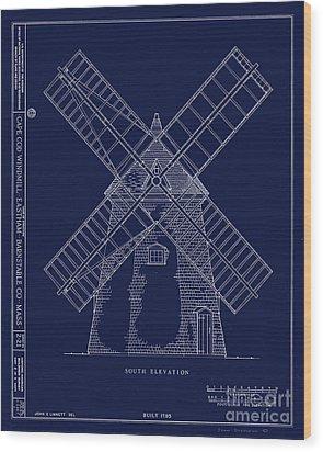 Historic Cape Cod Windmill Blueprint Wood Print by John Stephens