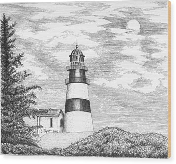 Cape Disappointment Lighthouse Wood Print by Lawrence Tripoli