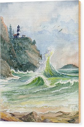 Wood Print featuring the painting Cape Disappointment Lighthouse by Marilyn Smith