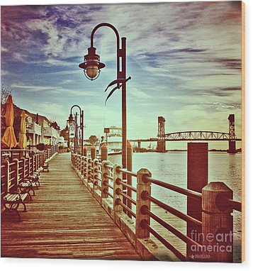 Cape Fear River Front Wood Print by Phil Mancuso