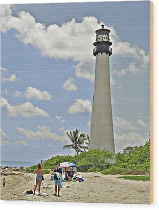 Cape Florida Lighthouse Wood Print by Allan Einhorn
