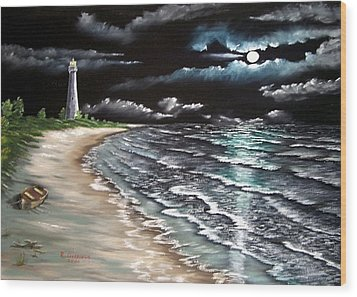 Cape Florida Lite At Midnight Wood Print by Riley Geddings