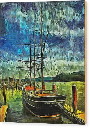 Wood Print featuring the photograph Cape Foulweather Tall Ship by Thom Zehrfeld