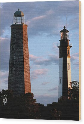 Cape Henry Lighthouses In Virginia Wood Print by Skip Willits