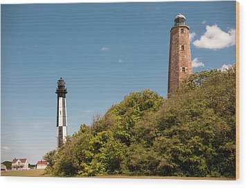 Cape Henry Lighthouses Old And New Wood Print