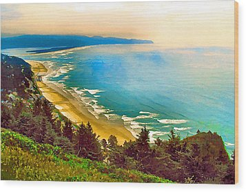 Cape Lookout From Oceanside Wood Print