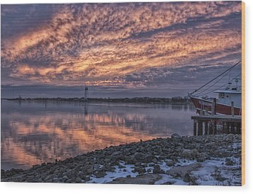 Cape May Harbor Sunrise Wood Print