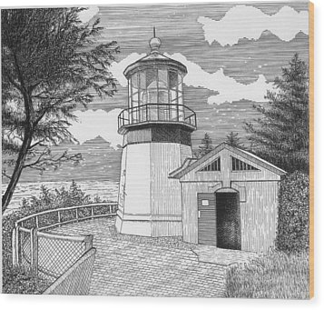 Cape Meares Lighthouse Wood Print by Lawrence Tripoli