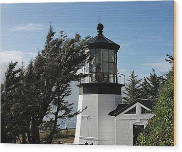 Cape Meares Lighthouse Near Tillamook On The Scenic Oregon Coast Wood Print by Christine Till