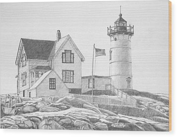 Cape Neddick Light House Drawing Wood Print by Dominic White