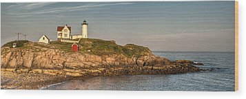 Cape Neddick Lighthouse Island In Evening Light - Panorama Wood Print by At Lands End Photography