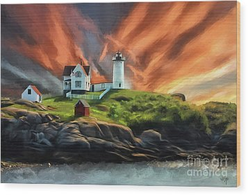 Wood Print featuring the digital art Cape Neddick Nubble Lighthouse by Lois Bryan