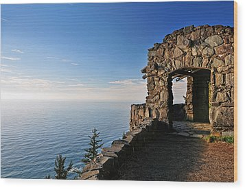 Wood Print featuring the photograph Cape Perpetua Stone Shelter by Lara Ellis