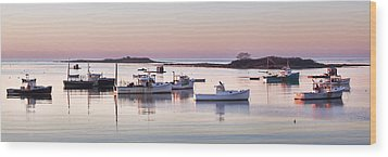 Cape Porpoise Harbor Panorama Wood Print