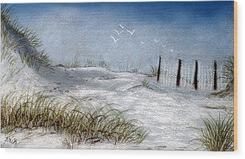 Wood Print featuring the pastel Cape San Blas Evening by Jan Amiss