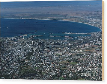 Capetown South Africa Aerial Wood Print by Sandra Bronstein