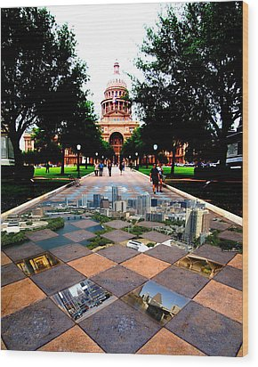 Capital City Collage Austin Texas Wood Print