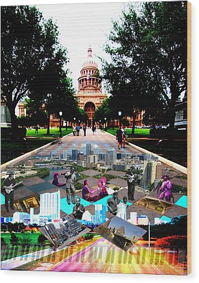 Capital Collage Austin Music Wood Print