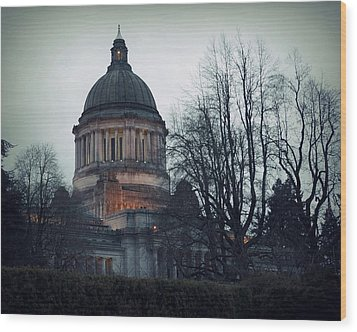 Capitol Aglow Wood Print by Patricia Strand