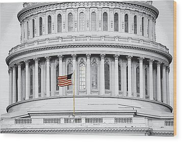 Wood Print featuring the photograph Capitol Flag by John Schneider