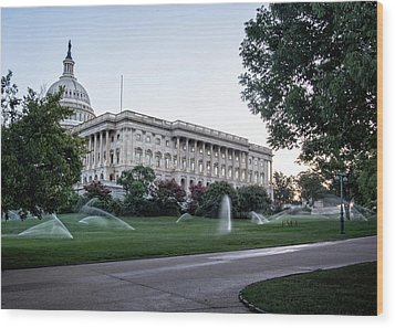 Capitol Hill Sprinklers Wood Print by Greg Mimbs